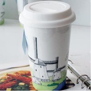BELLA HOUSE 環保雙層陶瓷隔熱杯 - 荷蘭風車
