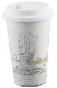 BELLA HOUSE 環保雙層陶瓷隔熱杯 -  新加坡魚尾獅