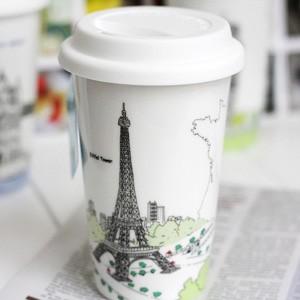 BELLA HOUSE 環保雙層陶瓷隔熱杯 -  法國艾菲爾鐵塔